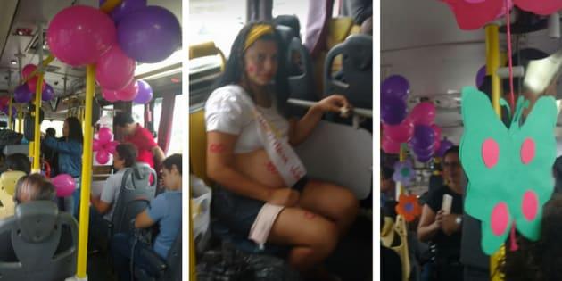 O ônibus se transformou em uma grande festa: balões, cartazes, comidinhas e refrigerantes e muitas fraldas (arrecadadas também pelos passageiros).
