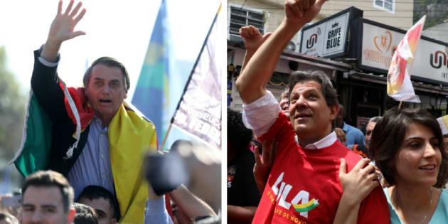 De acordo com pesquisa Datafolha, Bolsonaro tem 26% das intenções de voto e Fernando Haddad, 13%.