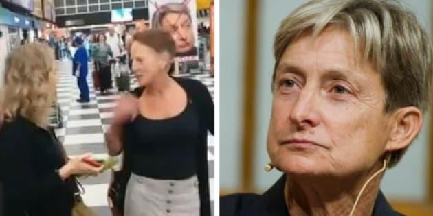 Judith Butler (dir.) veio ao Brasil para falar sobre democracia, mas ela e a esposa (esq.) foram agredidas.