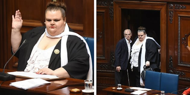Michelle Suaréz, de 33 anos, é a primeira senadora transexual do Uruguai.