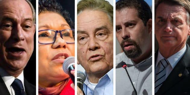 Ciro Gomes, Vera Lúcia, Paulo Rabello, Guilherme Boulos e Jair Bolsonaro.
