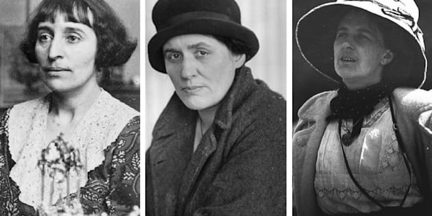 Da esquerda para a direita: A escritora Alice Babette Toklas, a poeta Anna Wickham e a escultora Kathleen Scott.