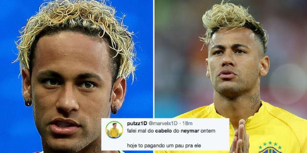 Neymar e seus cabelos sempre chamam atenção da torcida.