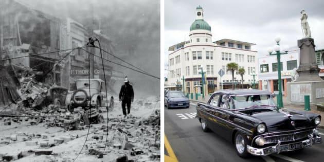 À esquerda, foto tirada logo após o terremoto que devastou Napier, em 1931. Hoje (à dir.), a cidade é reconhecida por sua arquitetura única.