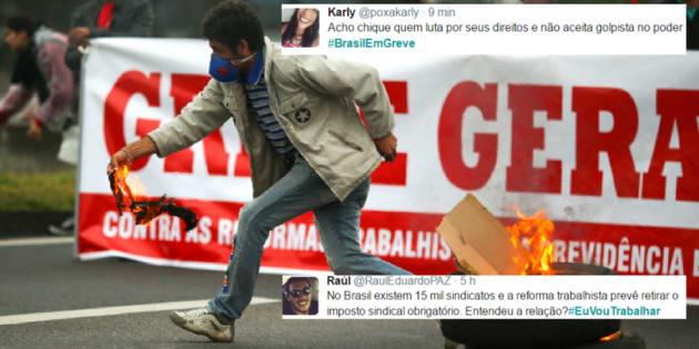 As tags #EuVouTrabalhar e #BrasilEmGreve dividem opiniões dos usuários.