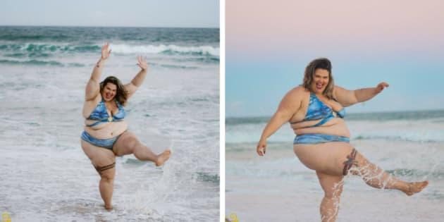 """""""Estou tão feliz por encontrar moda praia do meu tamanho""""."""