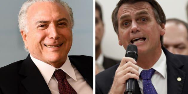 Embora exista interesse de deputados do PR em indicar o vice de Bolsonaro (à dir), o partido segue na base do presidente Michel Temer.