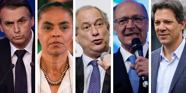 Jair Bolsonaro, Marina Silva, Ciro Gomes, Geraldo Alckmin e Fernando Haddad.