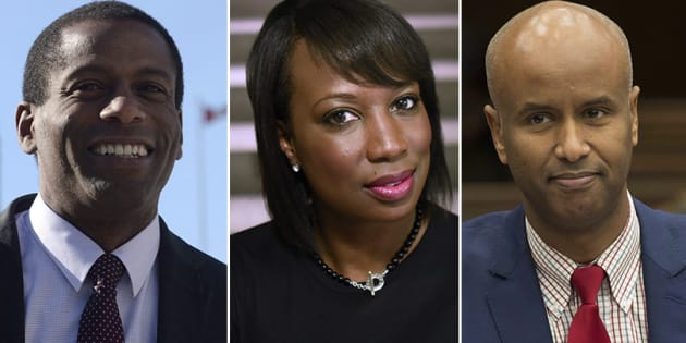 L to R: Liberal MPs Greg Fergus, Celina Caesar-Chavannes and Ahmed Hussen spoke to HuffPost Canada about what Black History Month means to them.