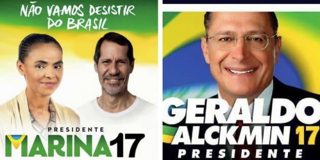 Número errado está associado a imagens com as candidaturas de Marina Silva e Geraldo Alckmin.