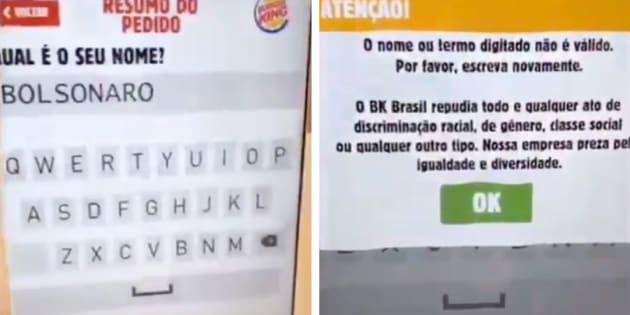 """Ao escrever """"Bolsonaro"""" no totem de auto-atendimento, uma mensagem dizia que o nome é invalido e que o BK repudia """"qualquer ato de discriminação."""""""