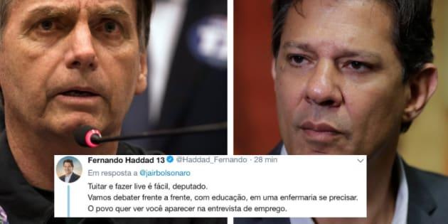 Haddad confronta Bolsonaro no Twitter.