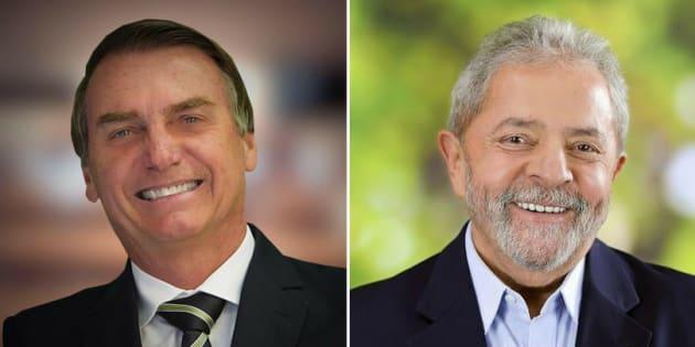 Jair Bolsonaro e Lula são os candidatos a presidente mais rejeitados do Brasil.