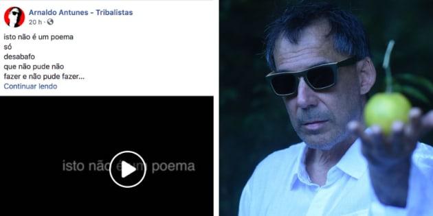 """Arnaldo Antunes faz poesia do momento político: """"Isso não é um poema. Só desabafo""""."""