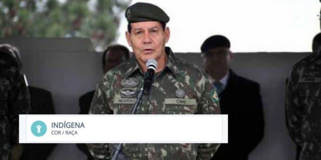 'Eu sou indígena, meu pai era amazonense', disse o general Mourão, vice na chapa de Bolsonaro.