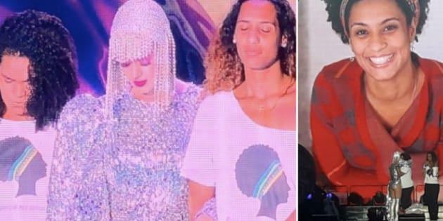 Katy Perry entre Luyara e Anielle, respectivamente filha e irmã de Marielle Franco.