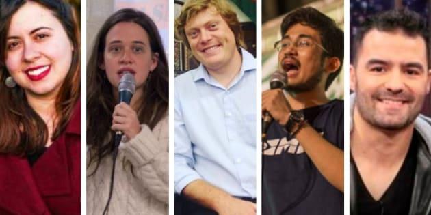 Sâmia Bomfim e Isa Penna, do PSOL; Zé Gustavo, da Rede; Kim Kataguiri e Arthur do Val, do MBL.