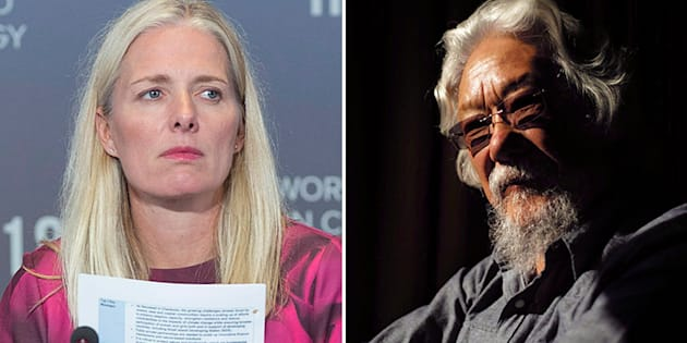 Environment Minister Catherine McKenna is shown in a composite with environmental activist David Suzuki.