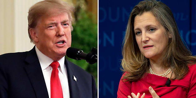 U.S. President Donald Trump, Foreign Affairs Minister Chrystia Freeland are shown in a composite image.