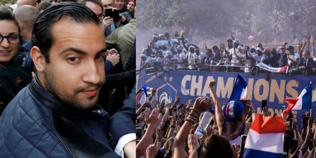 A sinistra Alexandre Benalla, a destra il bus con la squadra dei campioni del mondo durante la sfilata sugli Champs Elysées