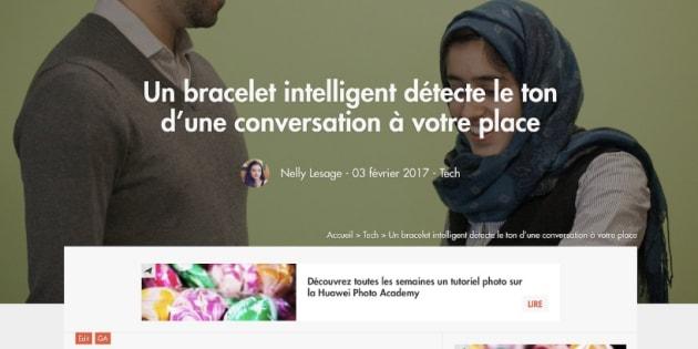 """L'illustration de l'article """"Un bracelet intelligent détecte le ton d'une conversation à votre place"""" a été la cible de commentaires racistes."""