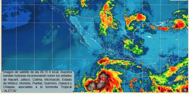 El estado más afectado por Aletta será Chiapas pues se pronostican lluvias intensas en el estado.