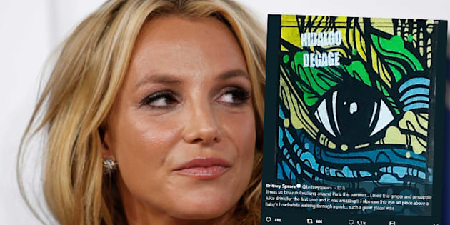 Britney Spears tweete un graff de Paris avec une inscription