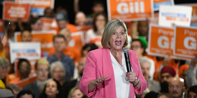 Ontario NDP Leader Andrea Horwath speaks to a packed room of supporters at an NDP rally in Brampton on May 21, 2018.