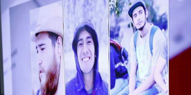 Imágenes de los tres estudiantes asesinados.