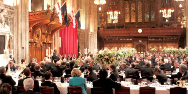 President Cyril Ramaphosa addressing a dinner in London on Wednesday night.