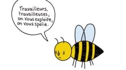 Ce dessin montre à quel point les abeilles sont exploitées pour leur