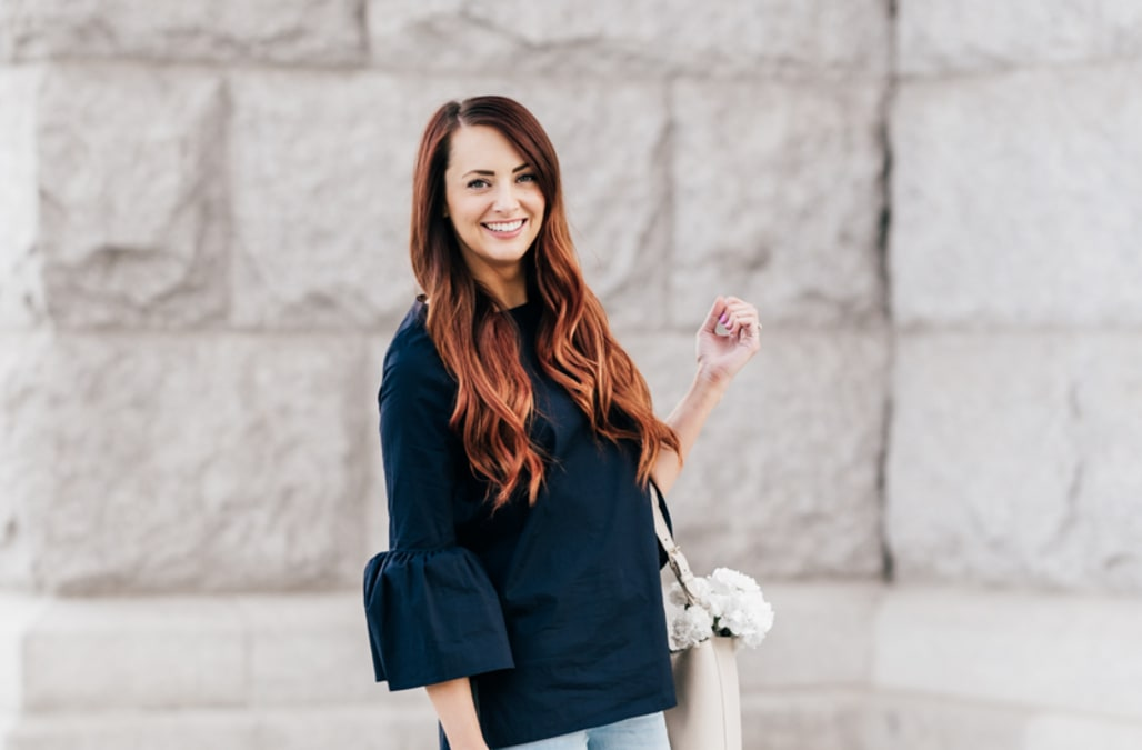 0b23fc39c111df Street style tip of the day  Navy bell sleeves - AOL Lifestyle