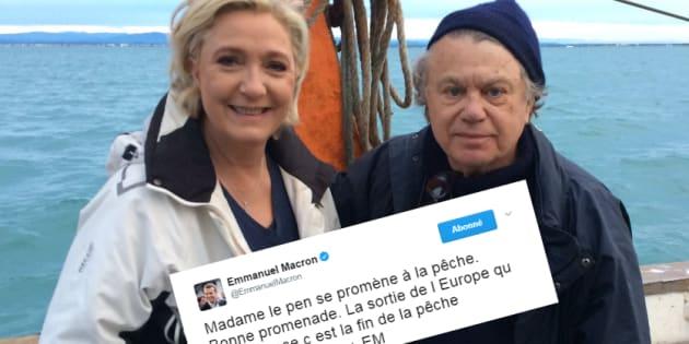 Marine Le Pen va à la pêche, Macron se moque sur Twitter
