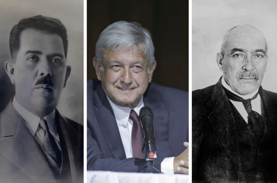 Lázaro Cárdenas (izquierda), Andrés Manuel López Obrador (al centro) y Victoriano Huerta (derecha).