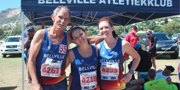 Runner Wietsie van der Westhuizen and his daughters.