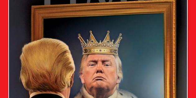 Donald Trump mostrado como rey, en clara alusión al poder que ha presumido para indultarse en la investigación de la trama rusa.
