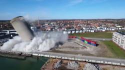La démolition de ce silo ne s'est pas passée comme