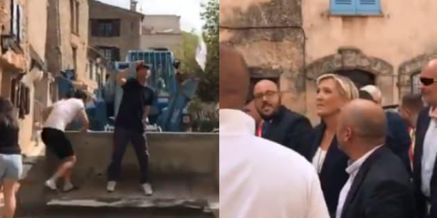 """Marine Le Pen conspuée lors d'un passage dans un village qui va accueillir des migrants, """"le village emmerde le Front national""""."""