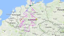 飛行機でドイツ全体に巨大クリスマスツリーを描いてみた。