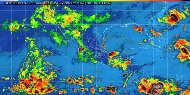Se pronostican tormentas intensas en áreas de Veracruz, Oaxaca y Chiapas.