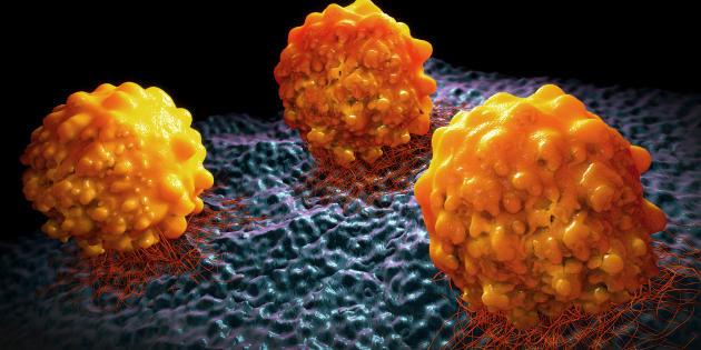 Illustration 3D de cellules cancéreuses.