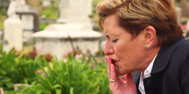 Christine Forster, in a scene mourning her partner, played by her real-life partner Virginia Edwards.