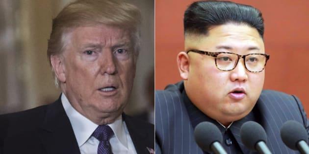 アメリカのトランプ大統領(左)と、北朝鮮の金正恩・朝鮮労働党委員長
