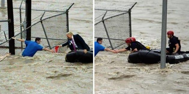Les pro-Trump partagent en masse ce montage du président sauvant des victimes de l'ouragan Florence