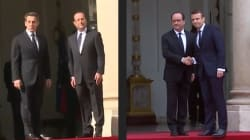 Le contraste entre les poignées de main Macron/Hollande et Hollande/Sarkozy se passe de