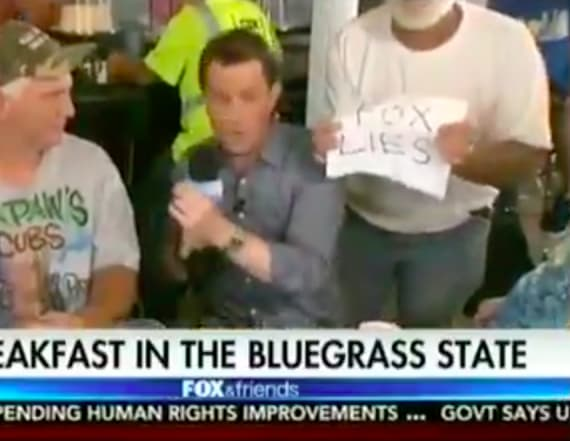 Protestor interrupts 'Fox & Friends' segment