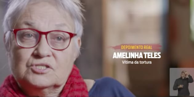 Torturada durante a ditadura no Brasil, Amelinha Teles dá depoimento para o programa eleitoral do PT.