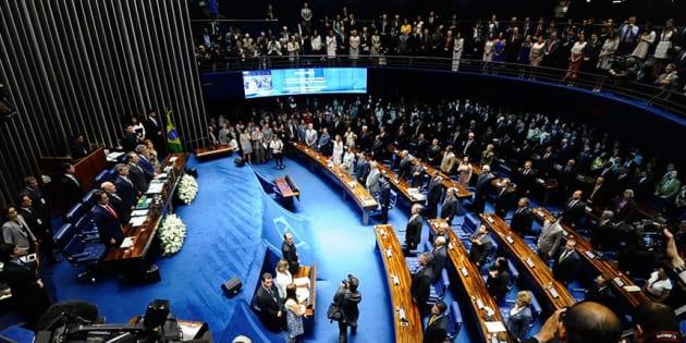 Posse de senadores eleitos em 2014, quando um terço das vagas estava em disputa.