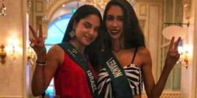 Miss Israel et Miss Liban posent ensemble pendant la préparation de Miss Terre 2018, aux Philippines.