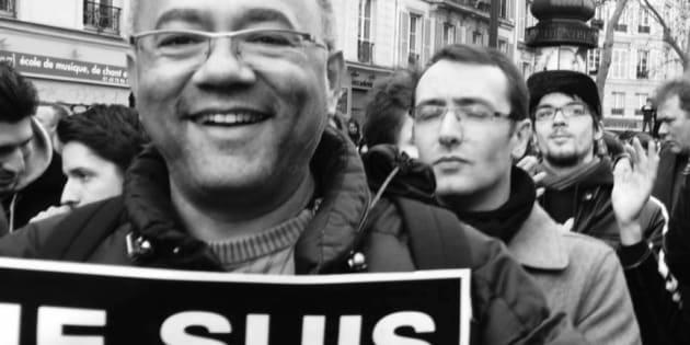 Damien Bois près de République le 11 janvier 2015.